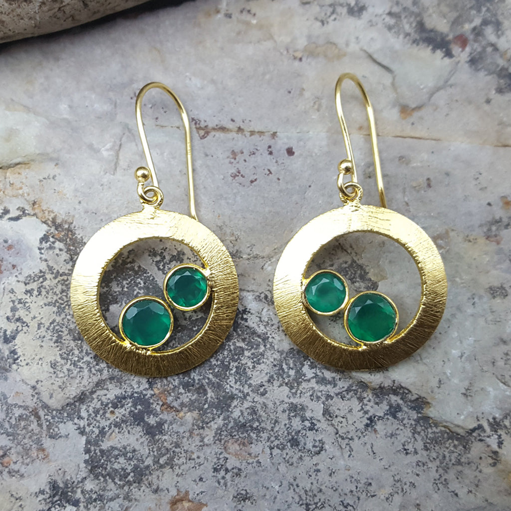 CHERRY GREEN ONYX GOLD EARRINGS