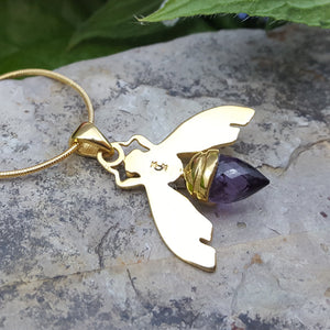 QUEEN BEE AMETHYST GOLD NECKLACE