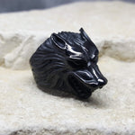 BLACK WOLF STEEL RING