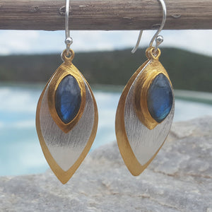FISH EYE LABRADORITE HOOK EARRINGS