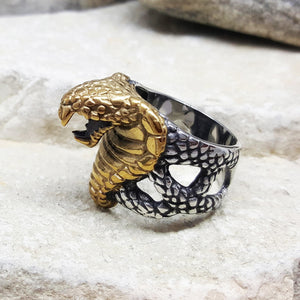 SILVER AND GOLD COBRA SNAKE STEEL RING