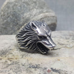 SILVER WOLF STEEL RING