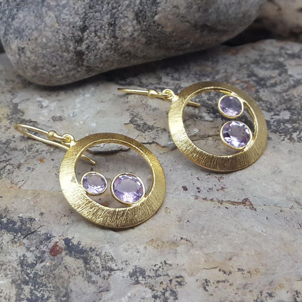 CHERRY AMETHYST GOLD EARRINGS