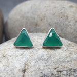 ARROW GREEN ONYX SILVER STUD EARRINGS