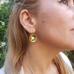 CAVIAR GREEN ONYX GOLD HOOK EARRINGS