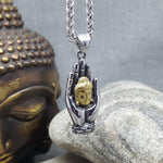 BUDDHA'S HAND STEEL NECKLACE