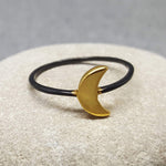 MINI MOON BLACK AND GOLD RING