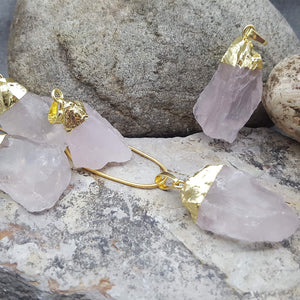 RAW ROSE QUARTZ NECKLACE