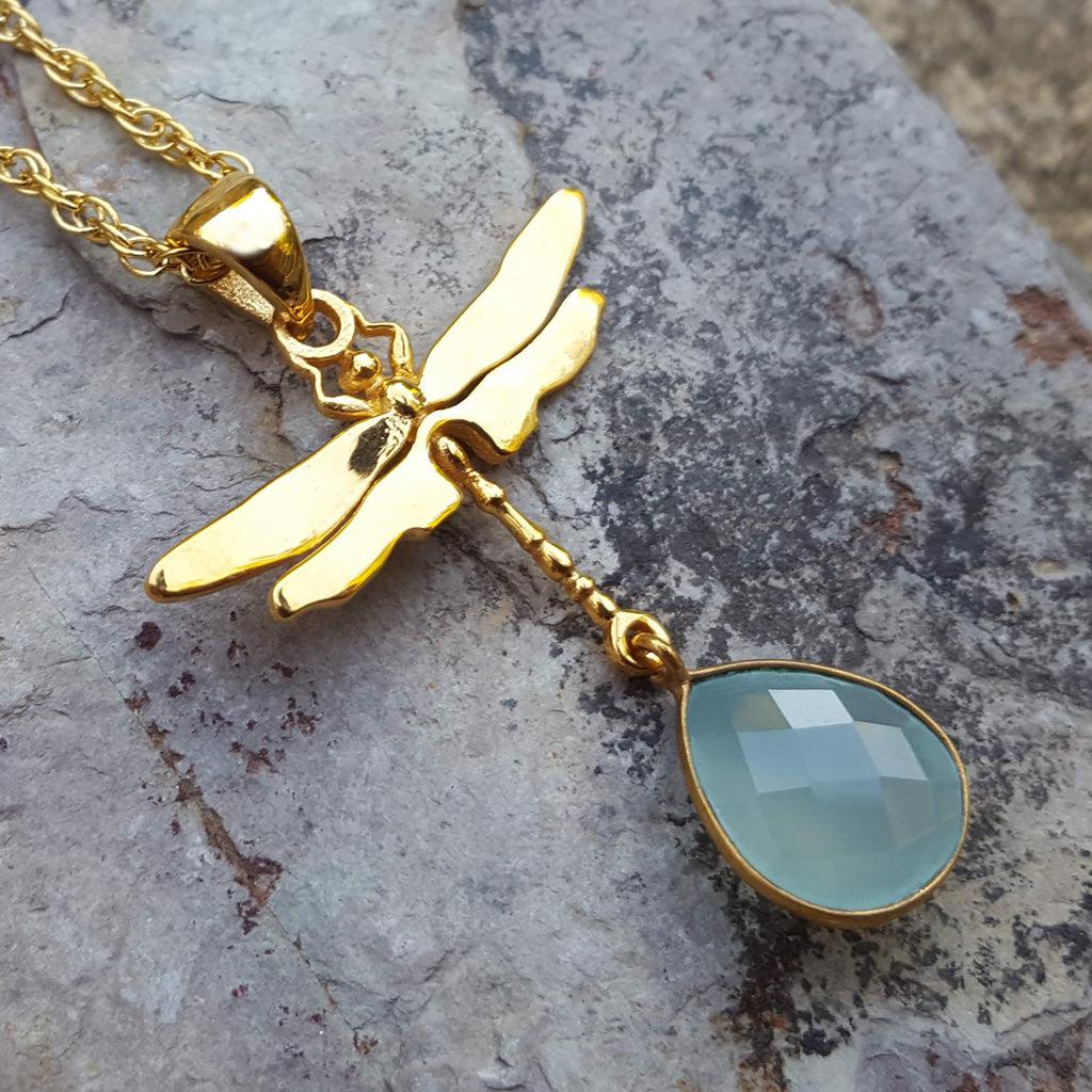 DRAGONFLY AQUA CHALCEDONY GOLD NECKLACE