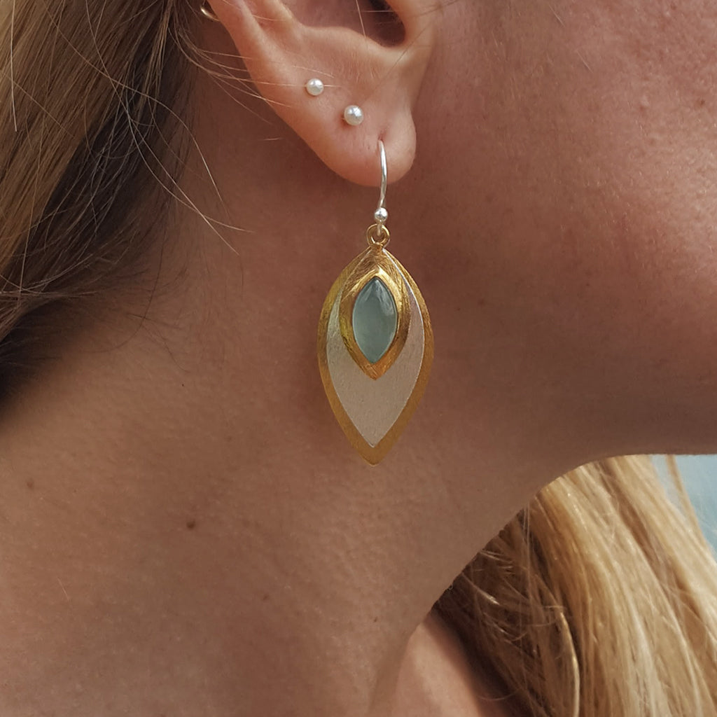 FISH EYE AQUA CHALCEDONY HOOK EARRINGS