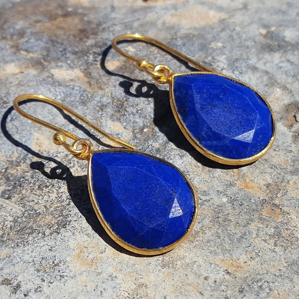 LAPIS LAZULI GOTA DE ORO HOOK EARRINGS
