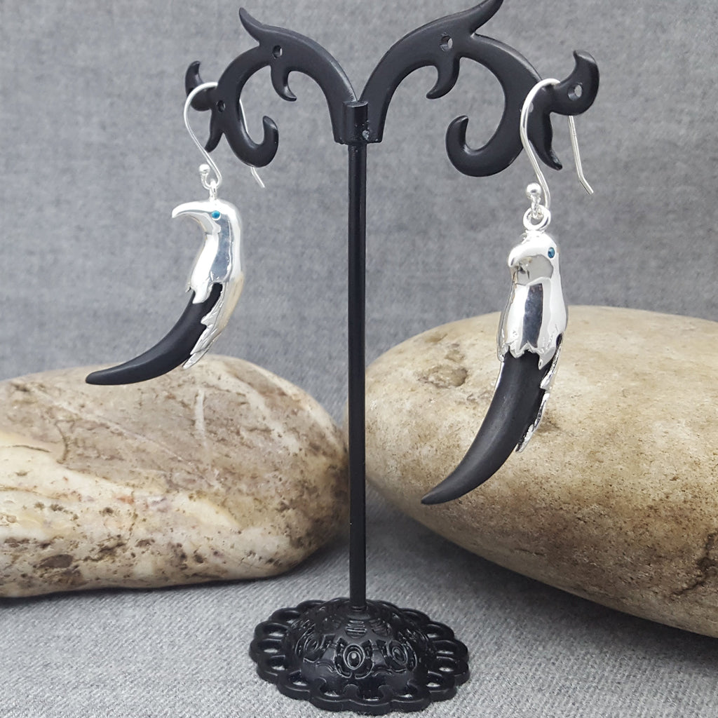 SILVER EAGLE HOOK EARRINGS