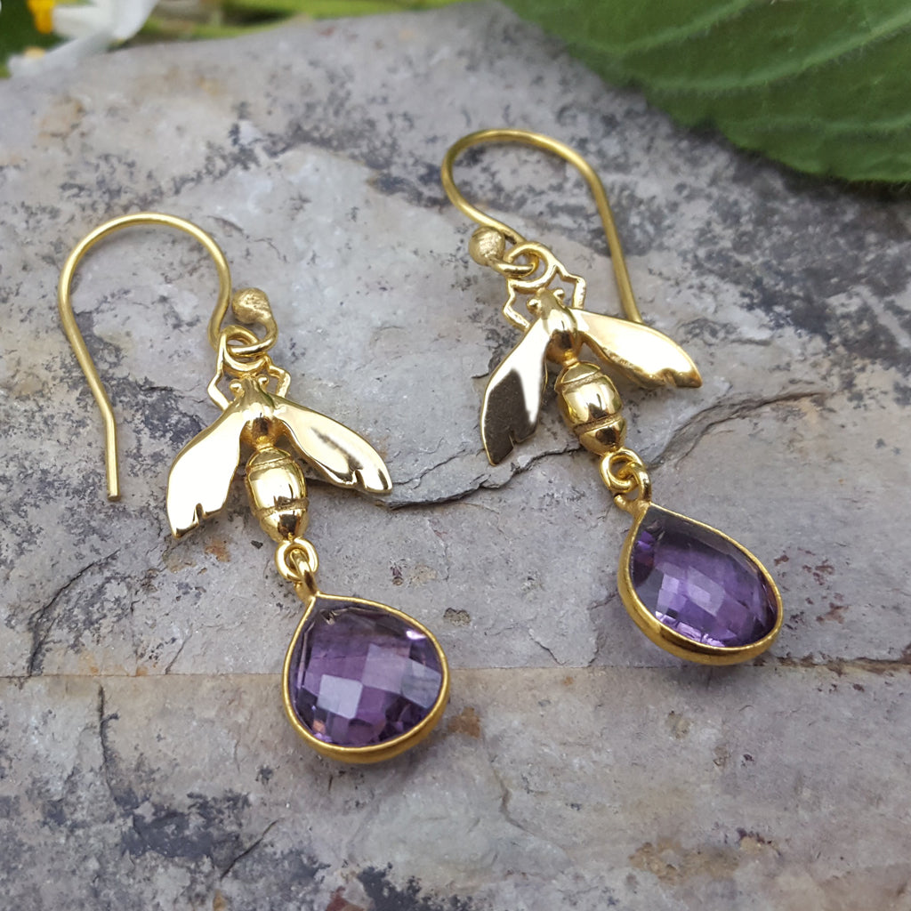 BEE AMETHYST GOLD EARRINGS