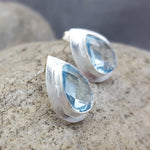 RAIN DROPS BLUE TOPAZ STUD EARRINGS