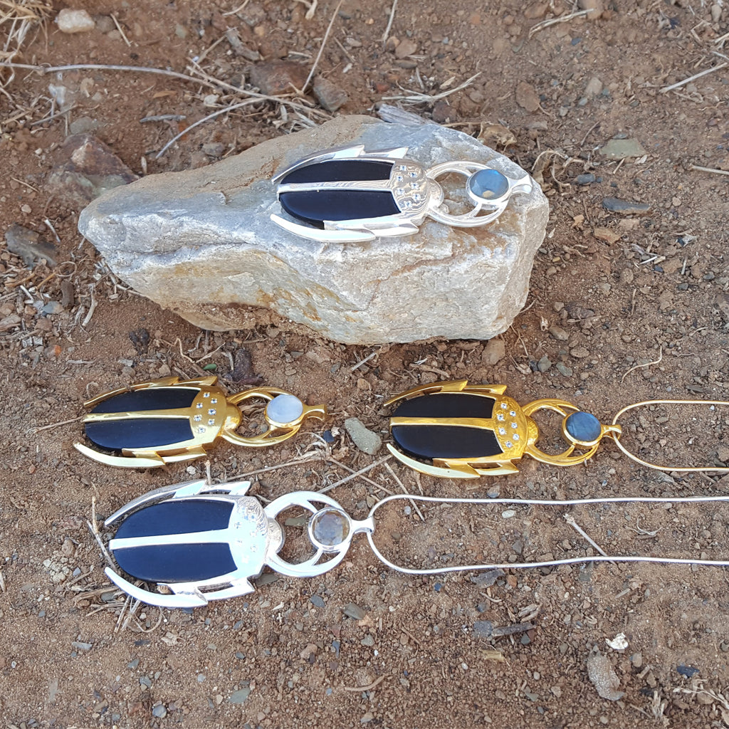 LUCKY BEETLE CITRINE SILVER NECKLACE