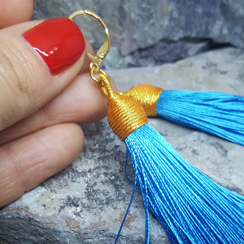 BEA LIGHT BLUE TASSEL EARRINGS