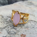 DRAGON EYE PINK CHALCEDONY GOLD RING