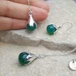 JEWELLERY SET TULY GREEN ONYX SILVER NECKLACE PLUS EARRINGS