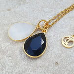 TEARS OF KALI BLACK ONYX AND MOONSTONE SET GOLD
