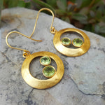 CHERRY PERIDOT GOLD HOOK EARRINGS