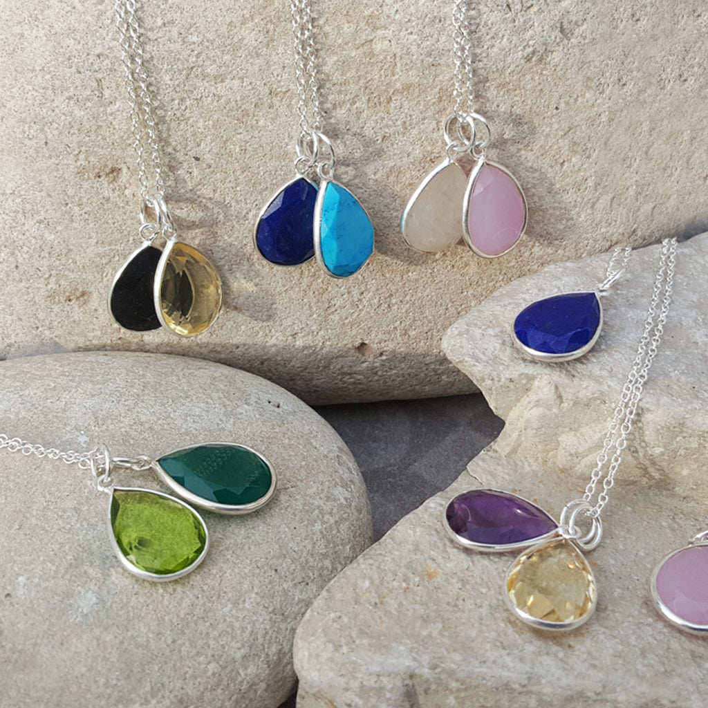 TEARS OF KALI BIRTHSTONE CHARMS SILVER NECKLACES