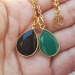 TEARS OF KALI GREEN ONYX AND BLACK ONYX SET GOLD