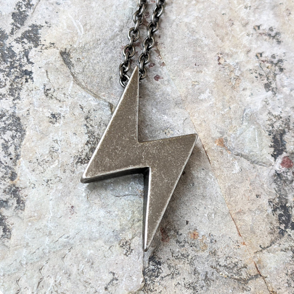 LIGHTNING OXIDIZED STEEL NECKLACE