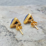ARROW LAPIS LAZULI GOLD STUD EARRINGS