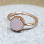 ROSES PINK CHALCEDONY ROSE GOLD RING