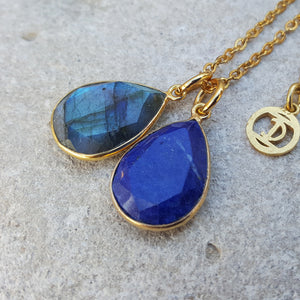 TEARS OF KALI LABRADORITE AND LAPIS LAZULI SET GOLD