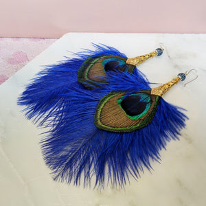 Natural Feathers Earrings Blue