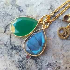 TEARS OF KALI GREEN ONYX AND LABRADORITE SET GOLD