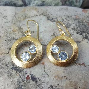 CHERRY BLUE TOPAZ GOLD HOOK EARRINGS