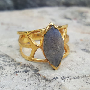 DRAGON EYE LABRADORITE GOLD RING