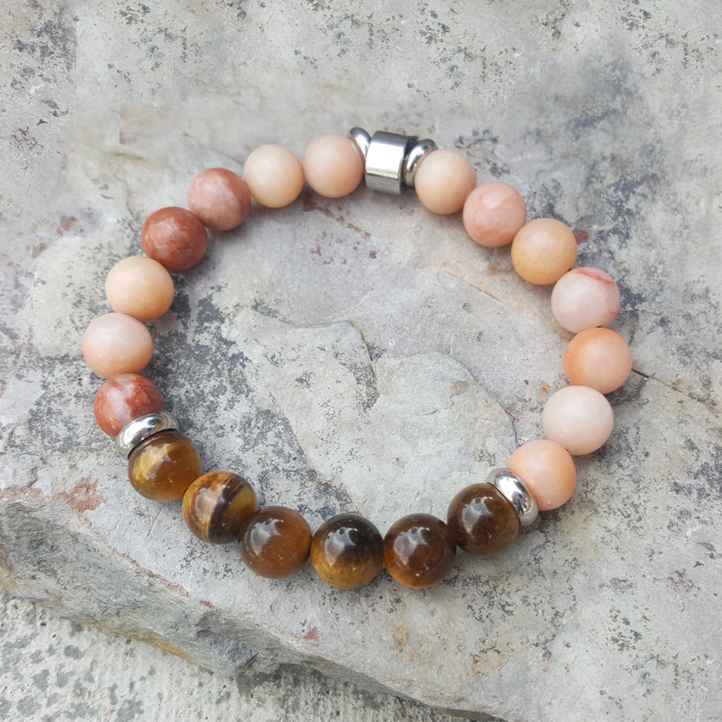 PINK AVENTIRINE AND TIGER EYE BRACELET