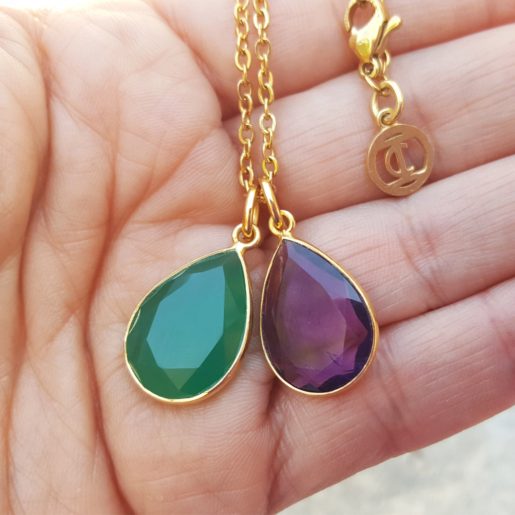 TEARS OF KALI GREEN ONYX AND AMETHYST SET GOLD