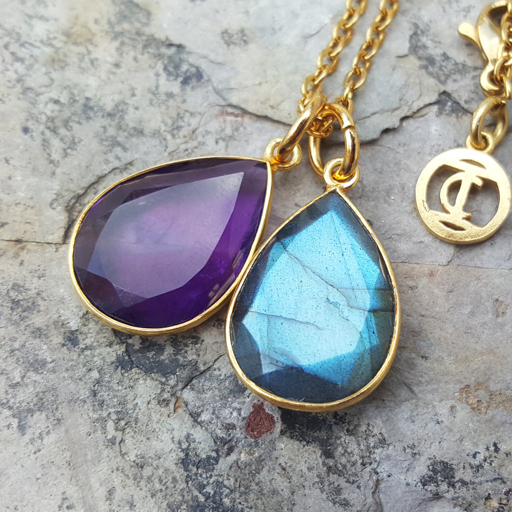 TEARS OF KALI LABRADORITE AND AMETHYST SET GOLD
