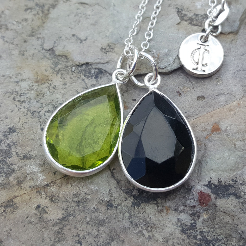 TEARS OF KALI PERIDOT AND BLACK ONYX SET SILVER
