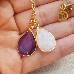 TEARS OF KALI AMETHYST AND MOONSTONE SET GOLD