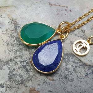 TEARS OF KALI GREEN ONYX AND LAPIS LAZULI SET GOLD