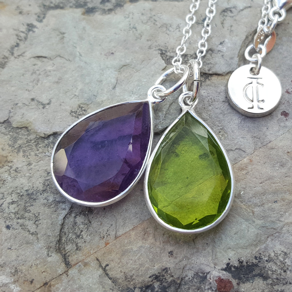 TEARS OF KALI PERIDOT AND AMETHYST SET SILVER