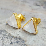 ARROW MOONSTONE GOLD STUD EARRINGS