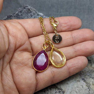 TEARS OF KALI RUBY AND CITRINE SET GOLD
