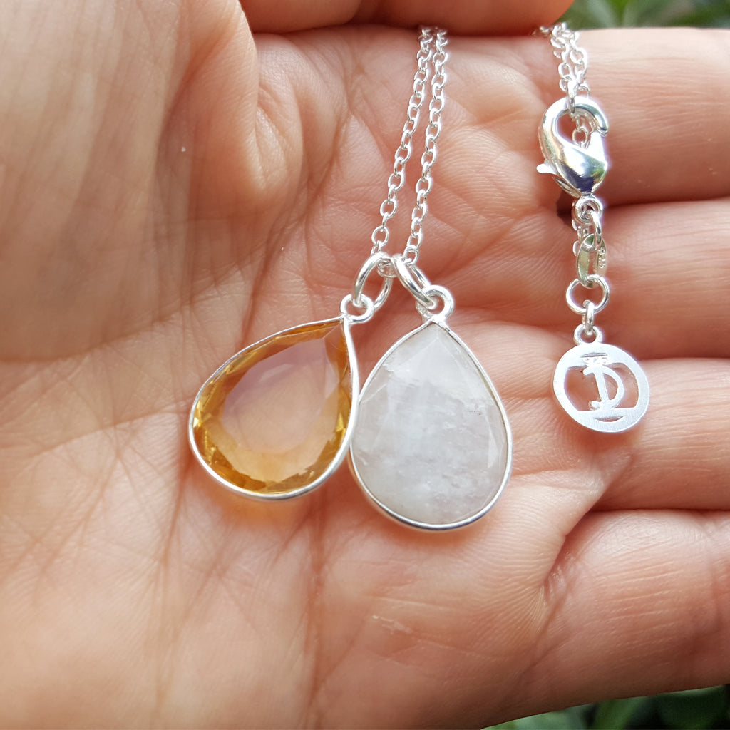 TEARS OF KALI MOONSTONE AND CITRINE SET SILVER