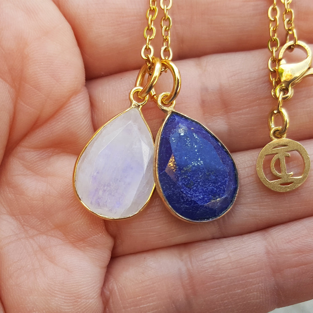 TEARS OF KALI LAPIS LAZULI AND MOONSTONE SET GOLD