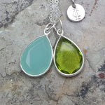 TEARS OF KALI AQUA CHALCEDONY AND PERIDOT SET SILVER