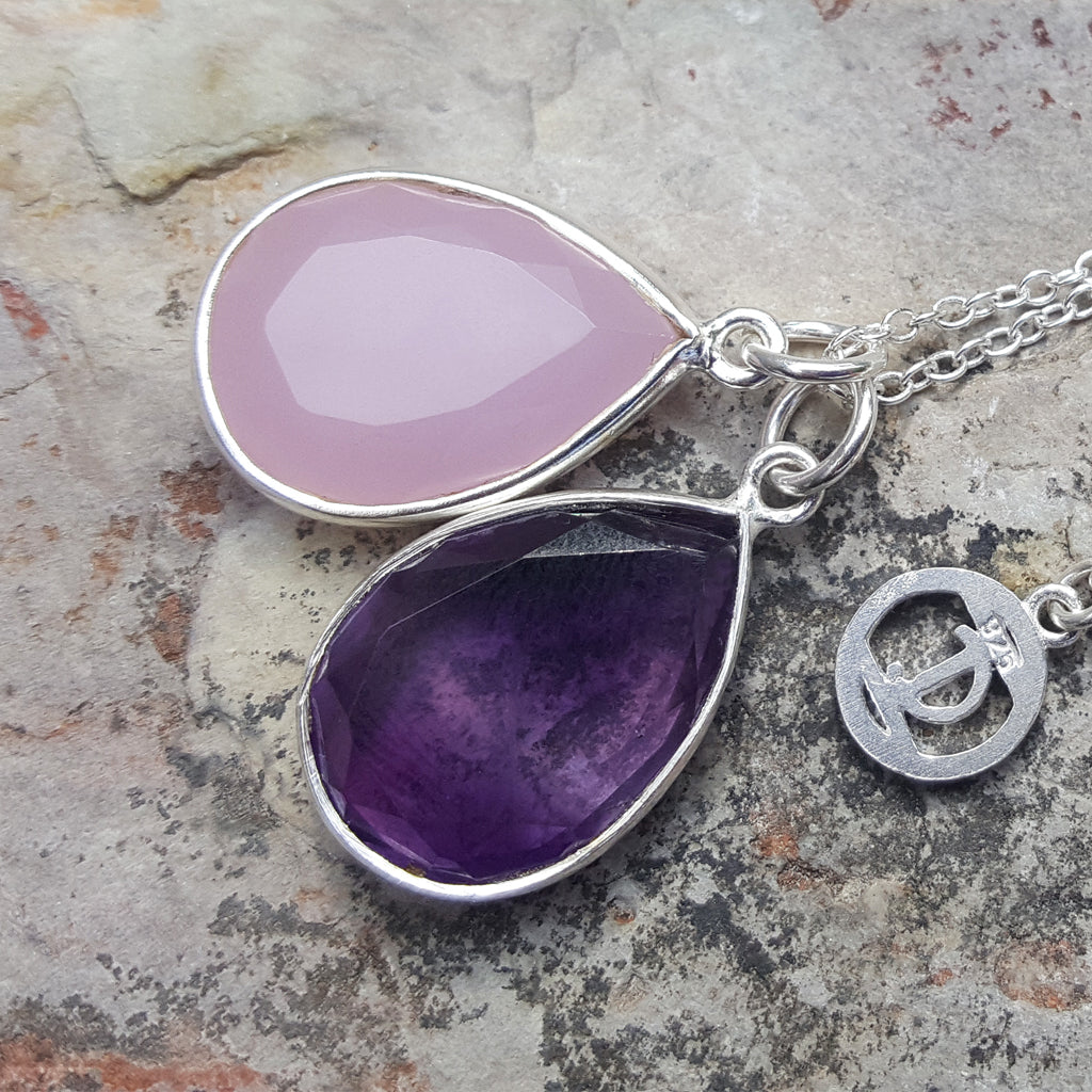 TEARS OF KALI PINK CHALCEDONY AND AMETHYST SET SILVER