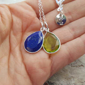 TEARS OF KALI PERIDOT AND LAPIS LAZULI SET SILVER