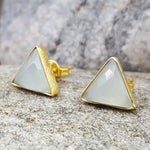 ARROW AQUA CHALCEDONY GOLD STUD EARRINGS