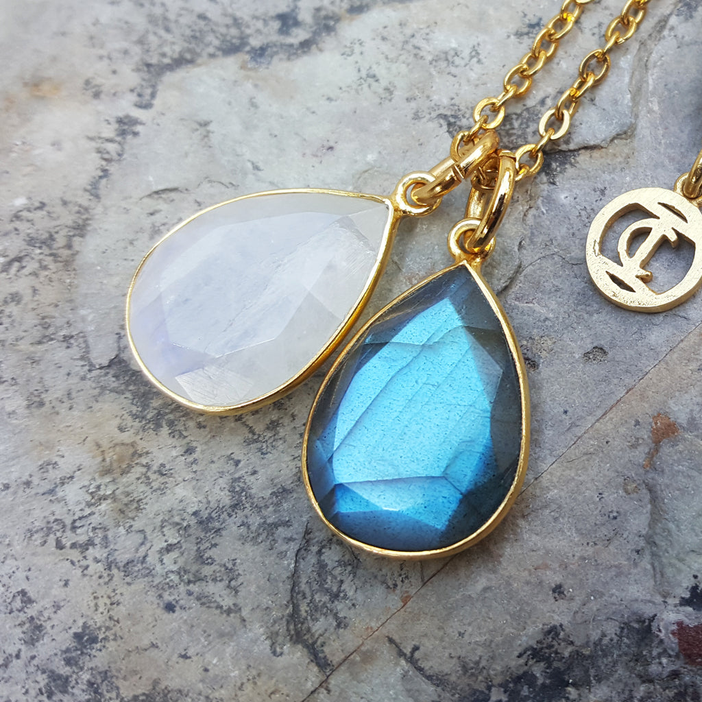 TEARS OF KALI MOONSTONE AND LABRADORITE SET GOLD